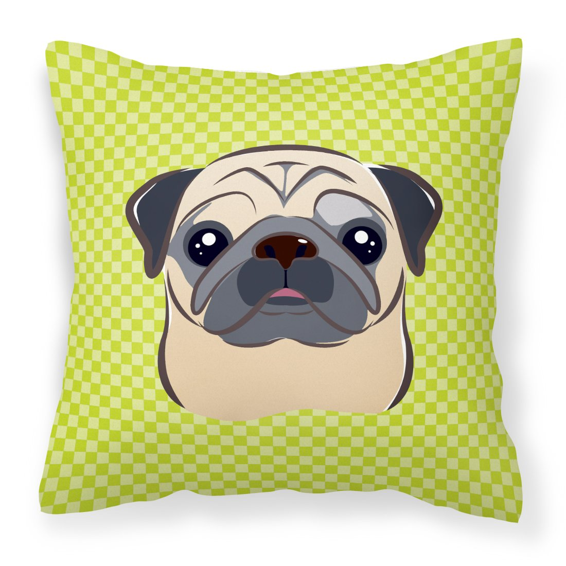 Buy this Checkerboard Lime Green Fawn Pug Canvas Fabric Decorative Pillow