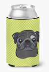 Checkerboard Lime Green Black Pug Can or Bottle Hugger BB1325CC - the-store.com