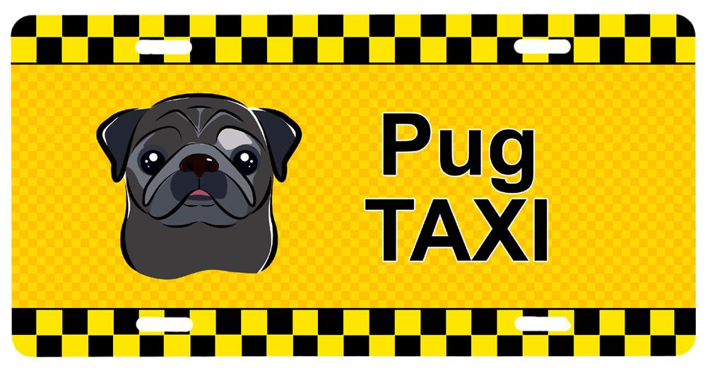 Black Pug Taxi License Plate BB1387LP by Caroline's Treasures