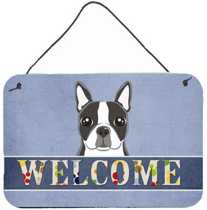 Buy this Boston Terrier Welcome Wall or Door Hanging Prints BB1389DS812