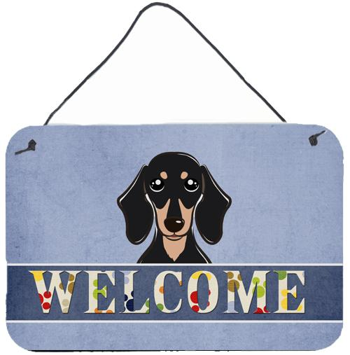 Buy this Smooth Black and Tan Dachshund Welcome Wall or Door Hanging Prints BB1401DS812