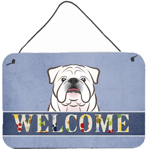 Buy this White English Bulldog Welcome Wall or Door Hanging Prints BB1406DS812
