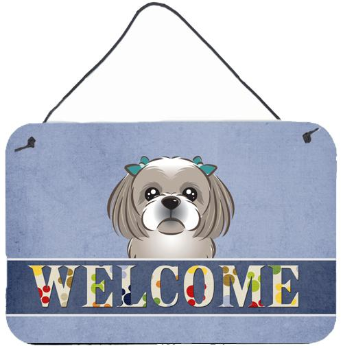 Buy this Gray Silver Shih Tzu Welcome Wall or Door Hanging Prints BB1436DS812