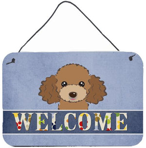 Buy this Chocolate Brown Poodle Welcome Wall or Door Hanging Prints BB1442DS812