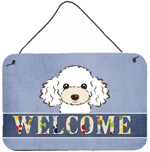 Buy this White Poodle Welcome Wall or Door Hanging Prints BB1443DS812