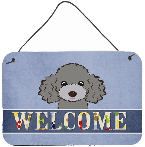 Buy this Silver Gray Poodle Welcome Wall or Door Hanging Prints BB1445DS812