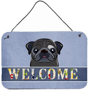 Buy this Black Pug Welcome Wall or Door Hanging Prints BB1449DS812
