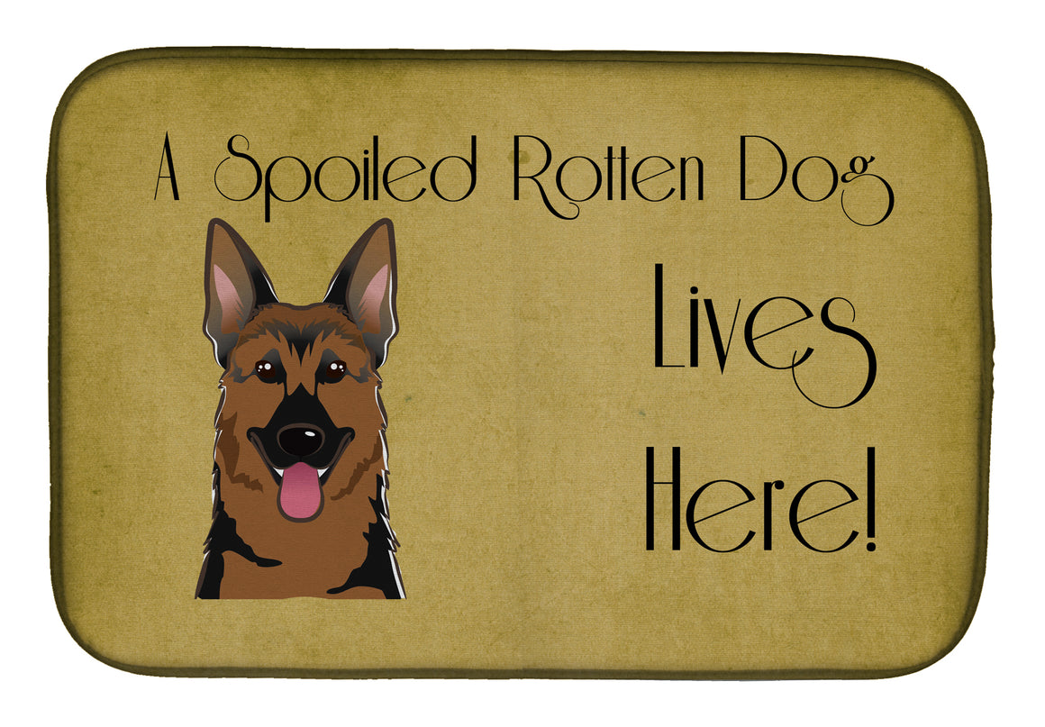 Buy this German Shepherd Spoiled Dog Lives Here Dish Drying Mat BB1459DDM