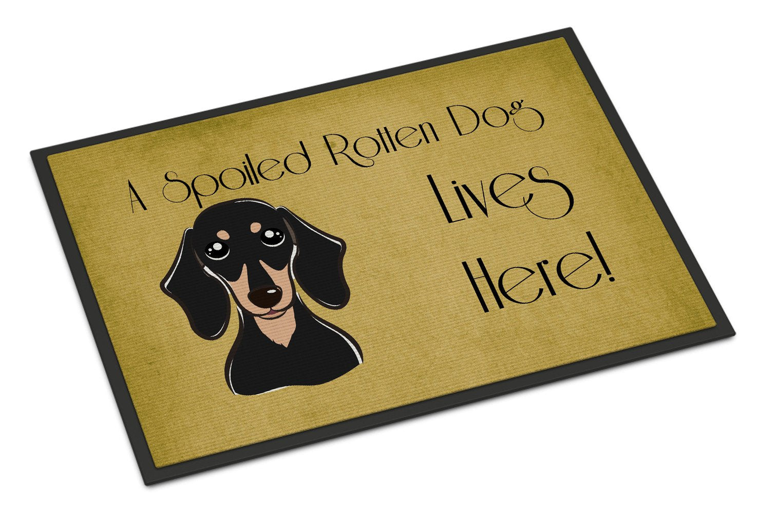 Smooth Black and Tan Dachshund Spoiled Dog Lives Here Indoor or Outdoor Mat 18x27 BB1463MAT - the-store.com
