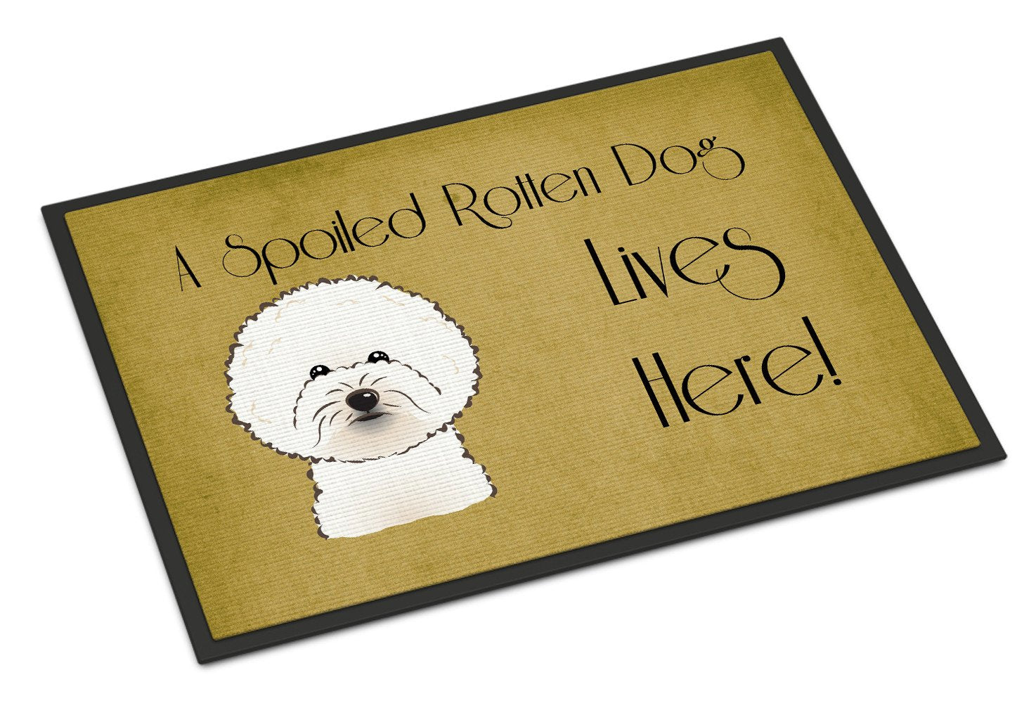 Bichon Frise Spoiled Dog Lives Here Indoor or Outdoor Mat 18x27 BB1465MAT - the-store.com