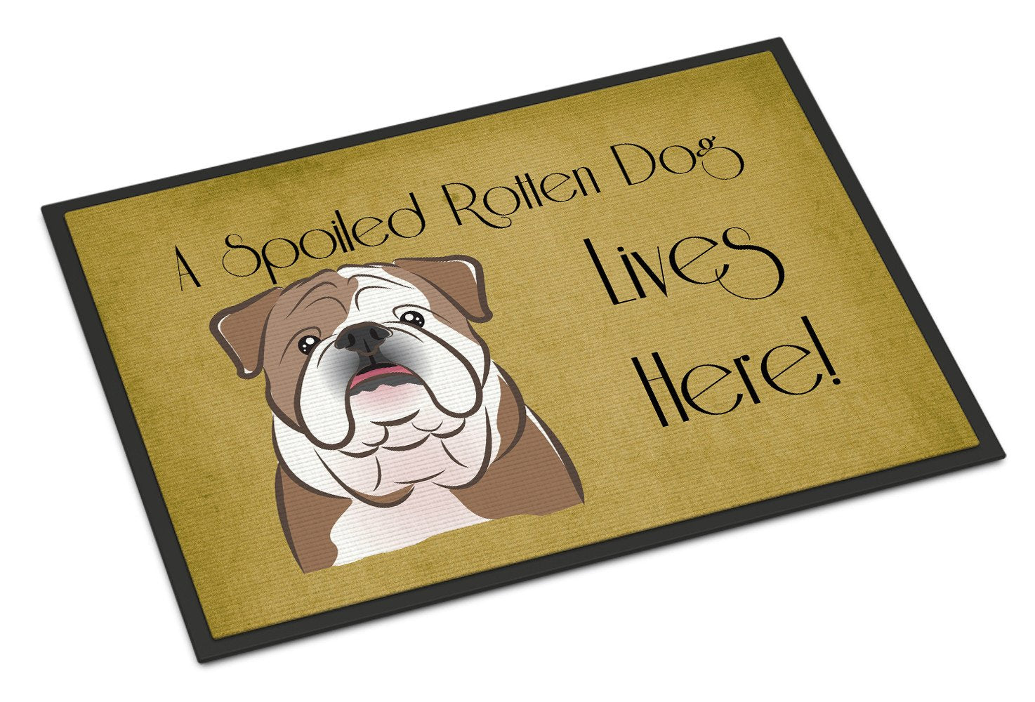 English Bulldog  Spoiled Dog Lives Here Indoor or Outdoor Mat 18x27 BB1467MAT - the-store.com
