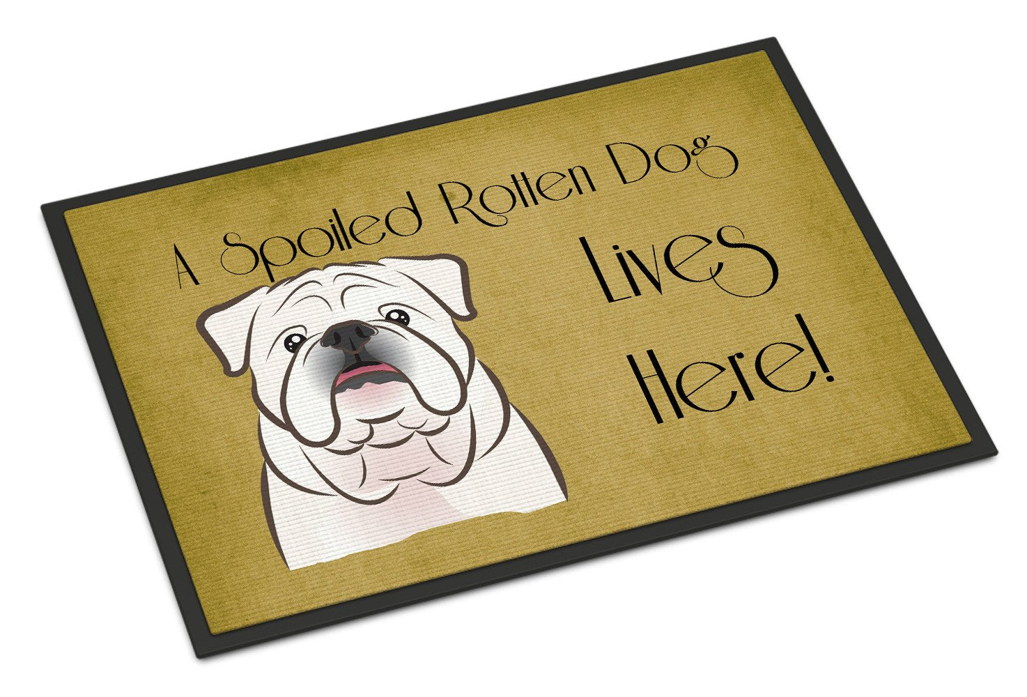 White English Bulldog  Spoiled Dog Lives Here Indoor or Outdoor Mat 18x27 BB1468MAT - the-store.com