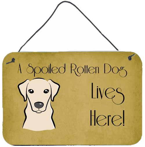 Buy this Yellow Labrador Spoiled Dog Lives Here Wall or Door Hanging Prints BB1470DS812
