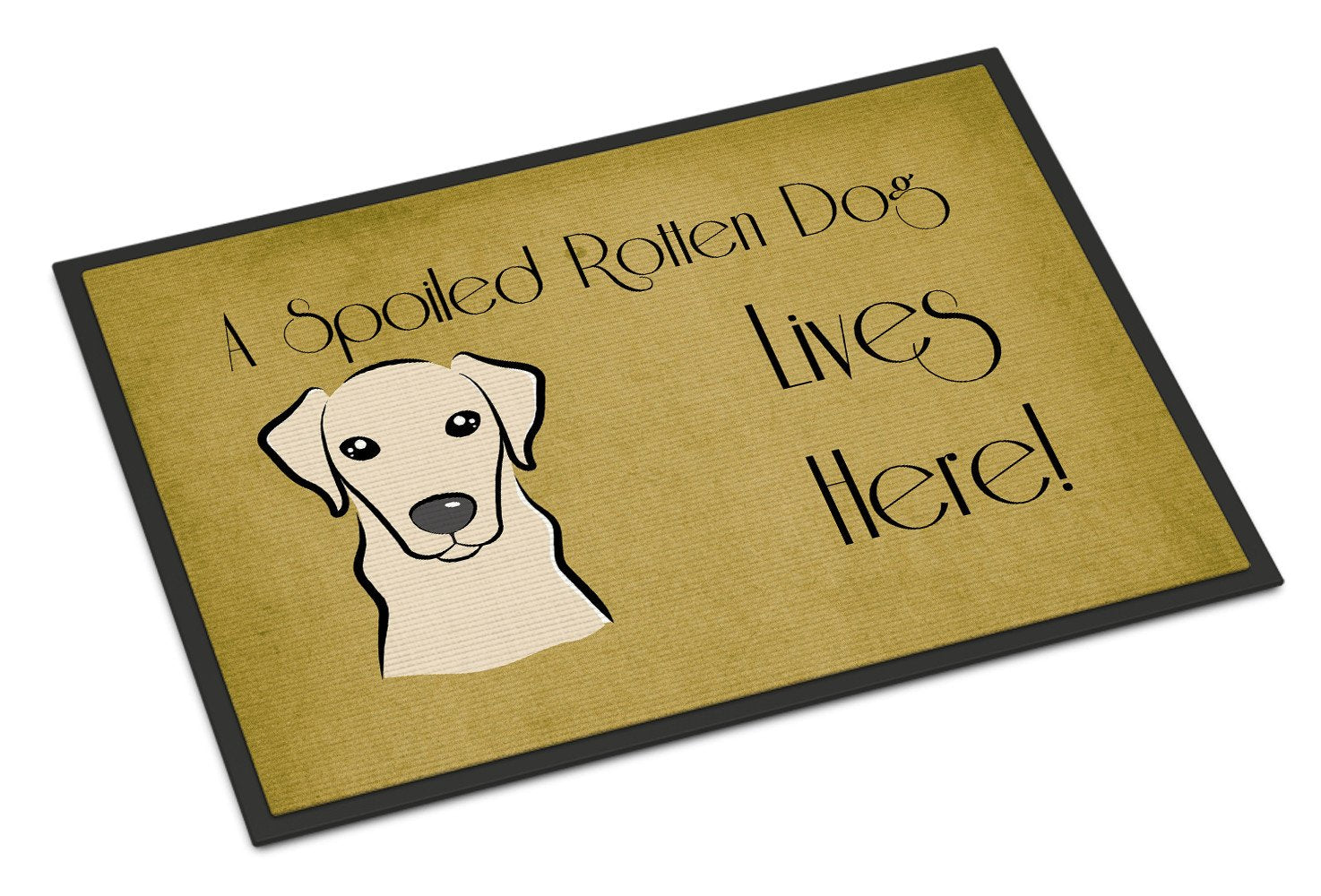 Yellow Labrador Spoiled Dog Lives Here Indoor or Outdoor Mat 18x27 BB1470MAT - the-store.com