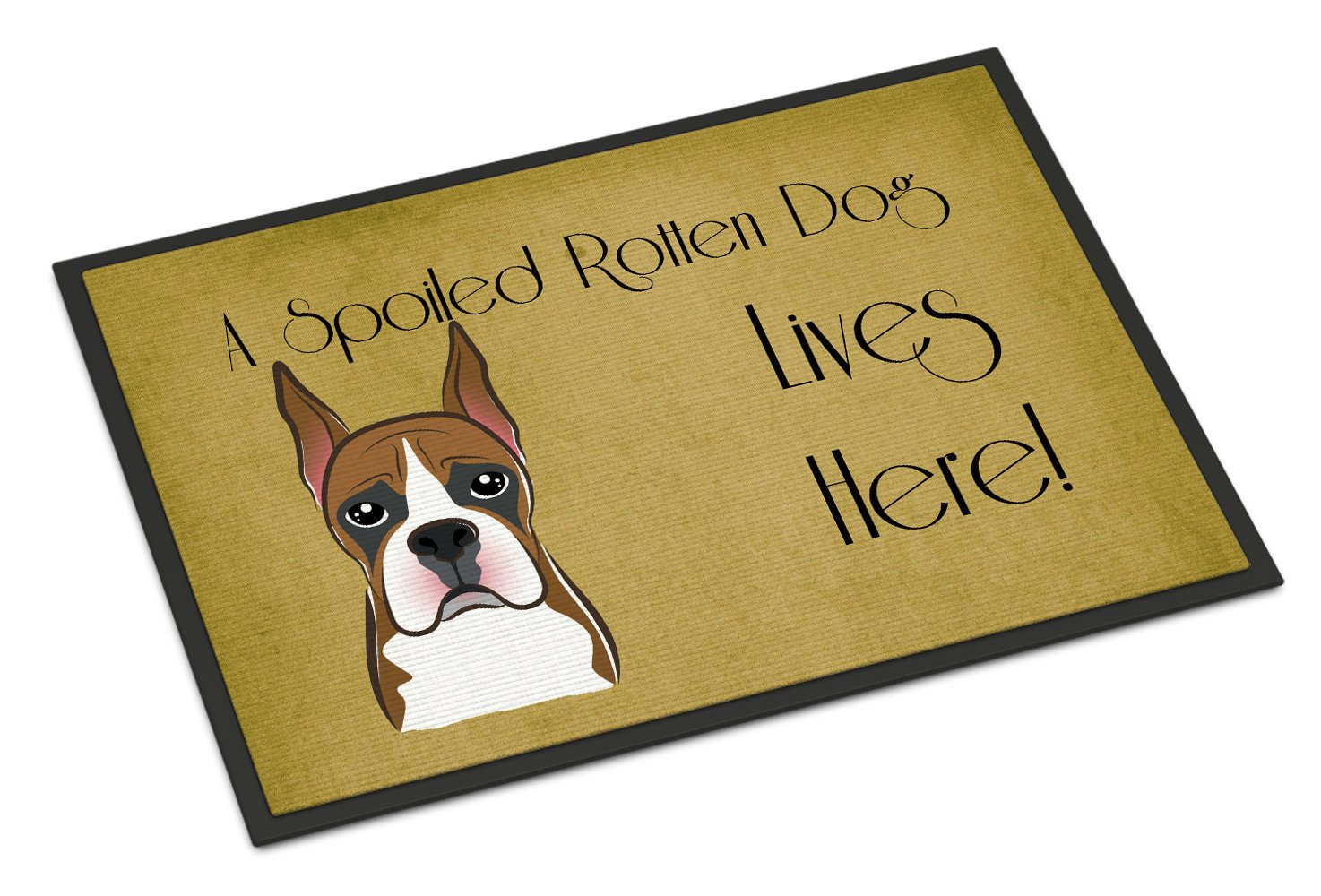 Boxer Spoiled Dog Lives Here Indoor or Outdoor Mat 18x27 BB1471MAT - the-store.com