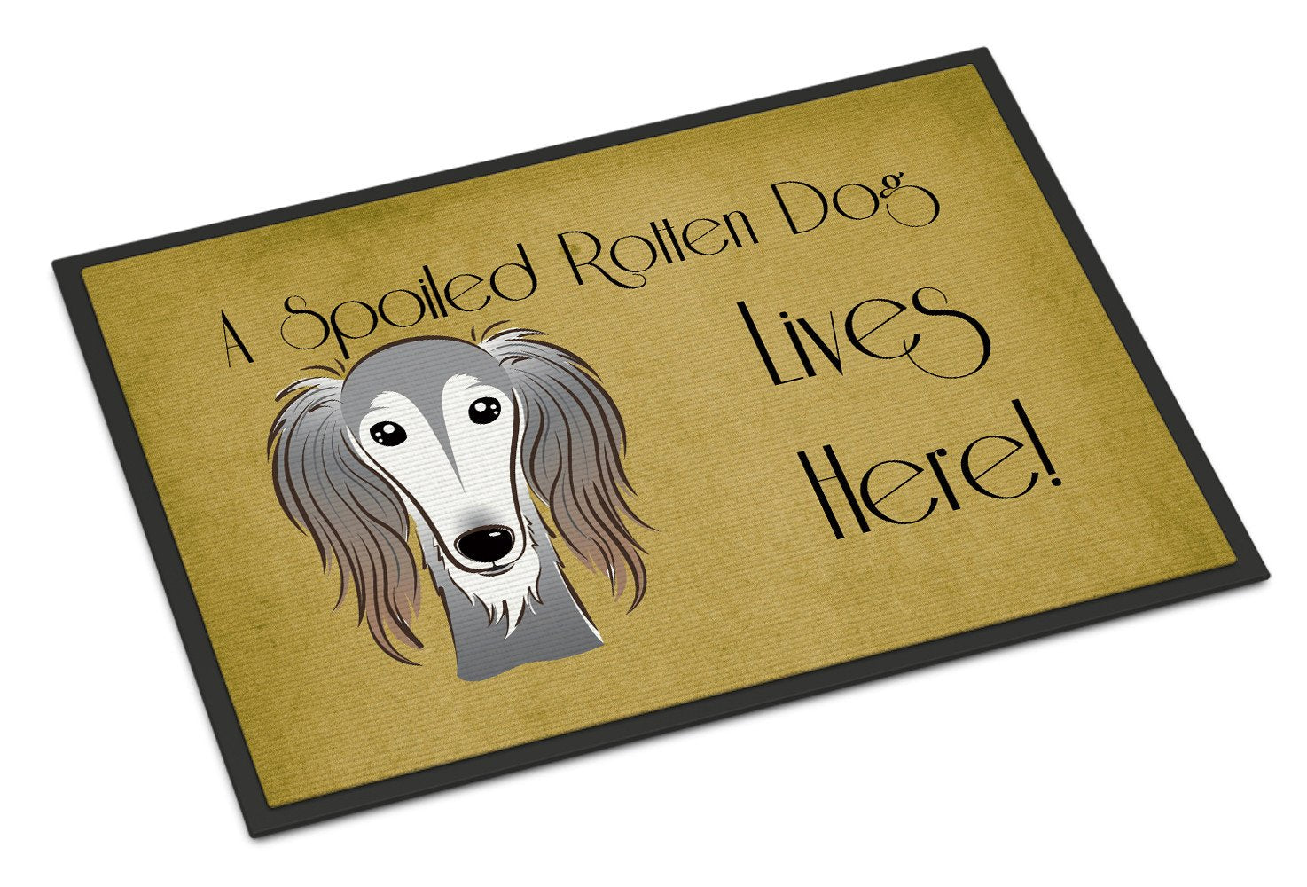 Saluki Spoiled Dog Lives Here Indoor or Outdoor Mat 18x27 BB1477MAT - the-store.com