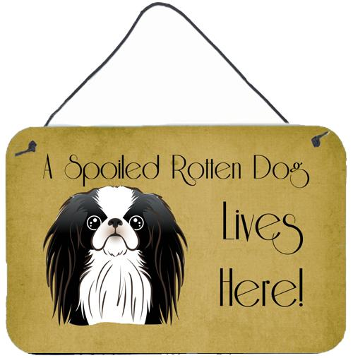 Japanese Chin Spoiled Dog Lives Here Wall or Door Hanging Prints BB1478DS812 by Caroline's Treasures
