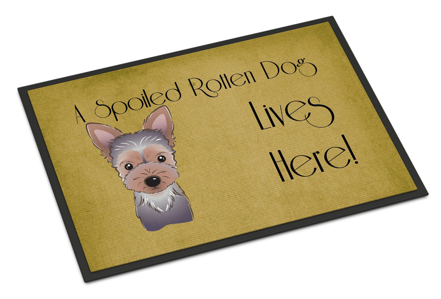 Yorkie Puppy Spoiled Dog Lives Here Indoor or Outdoor Mat 18x27 BB1480MAT - the-store.com