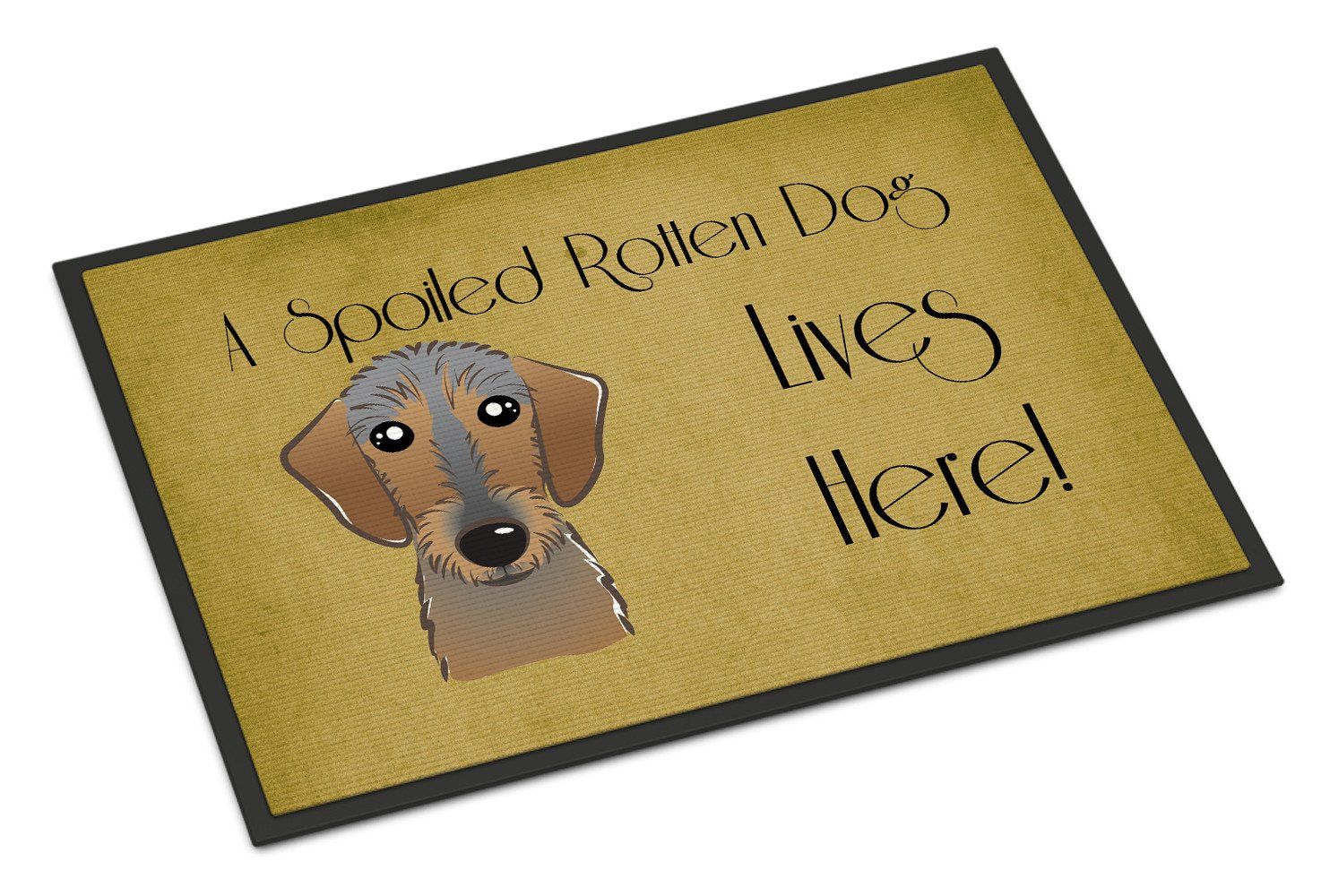 Wirehaired Dachshund Spoiled Dog Lives Here Indoor or Outdoor Mat 18x27 BB1481MAT - the-store.com