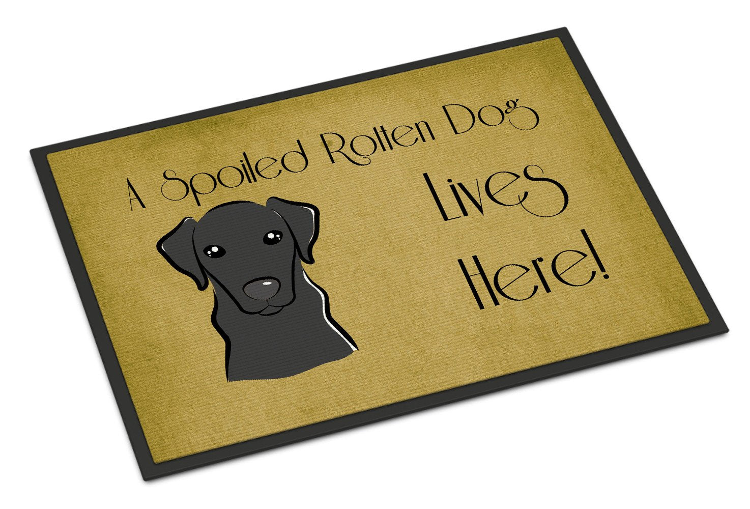 Black Labrador Spoiled Dog Lives Here Indoor or Outdoor Mat 18x27 BB1483MAT - the-store.com