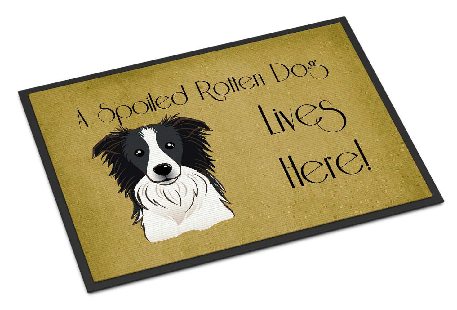 Border Collie Spoiled Dog Lives Here Indoor or Outdoor Mat 18x27 BB1489MAT - the-store.com