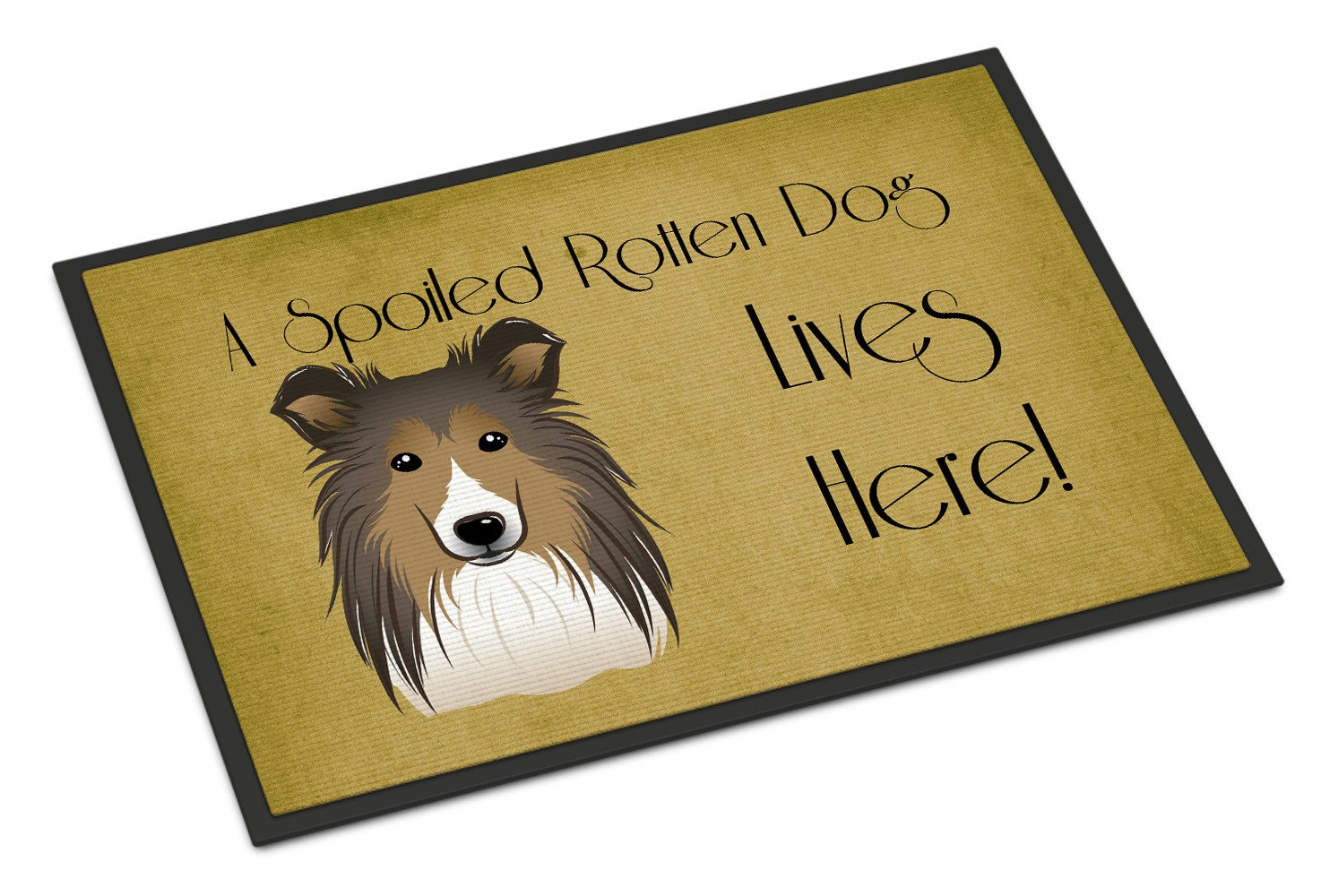 Sheltie Spoiled Dog Lives Here Indoor or Outdoor Mat 18x27 BB1490MAT - the-store.com