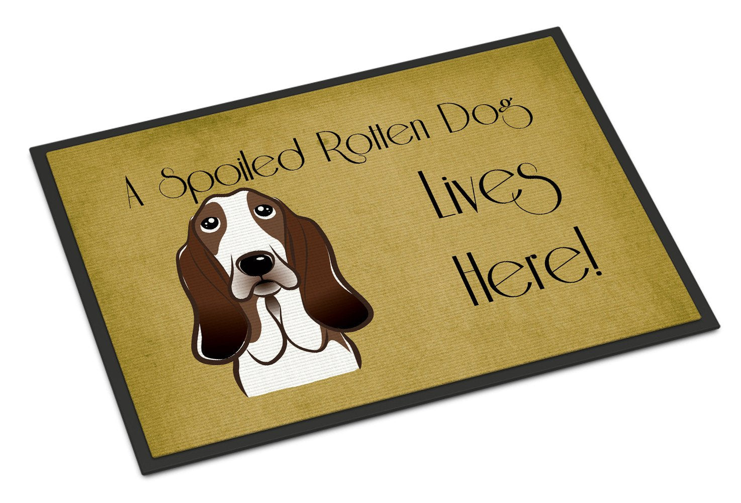 Basset Hound Spoiled Dog Lives Here Indoor or Outdoor Mat 18x27 BB1491MAT - the-store.com