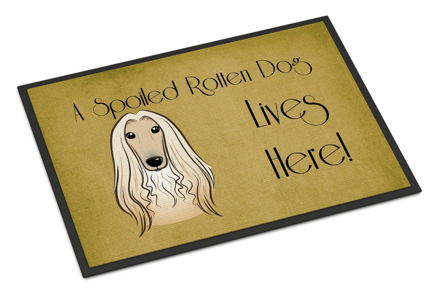 Afghan Hound Spoiled Dog Lives Here Indoor or Outdoor Mat 18x27 BB1492MAT - the-store.com