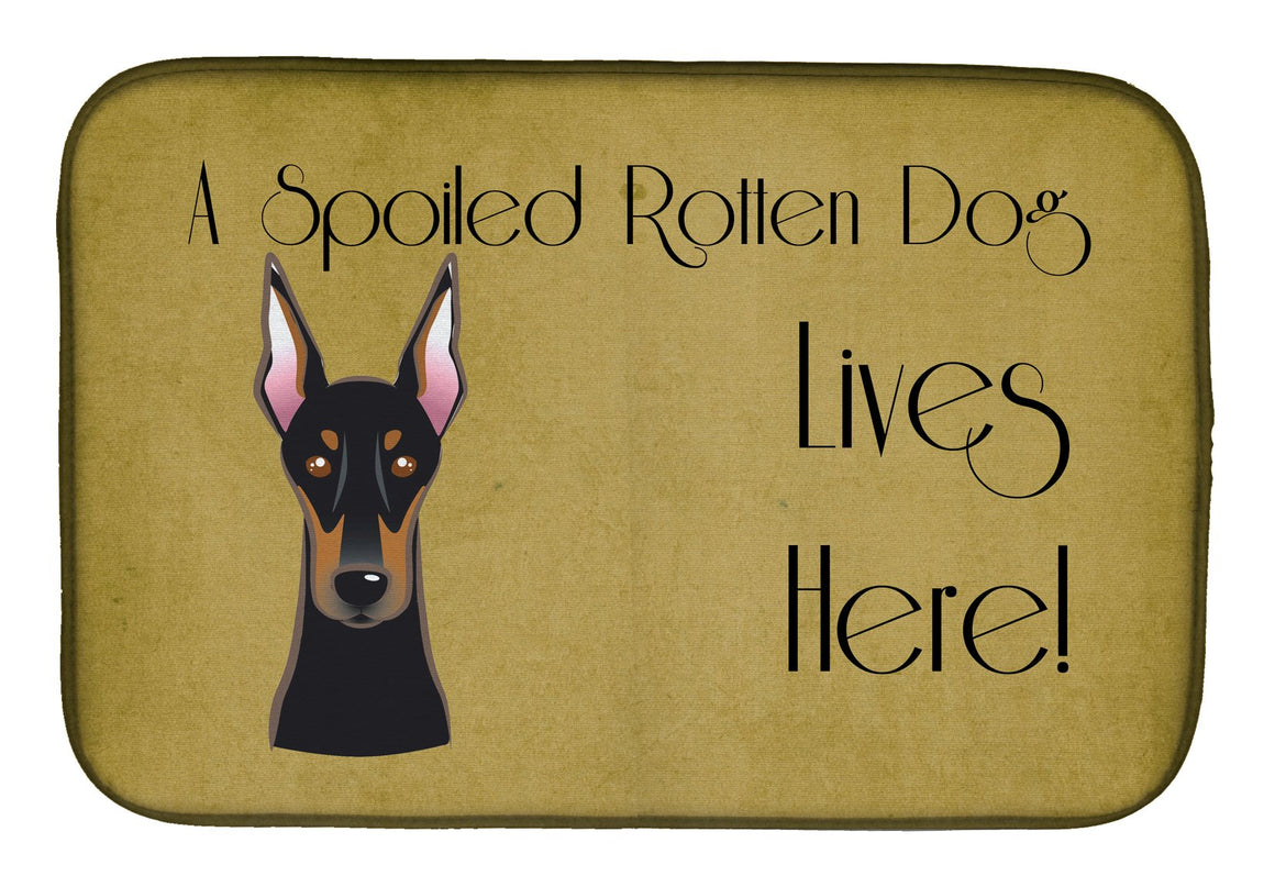Buy this Doberman Spoiled Dog Lives Here Dish Drying Mat BB1493DDM