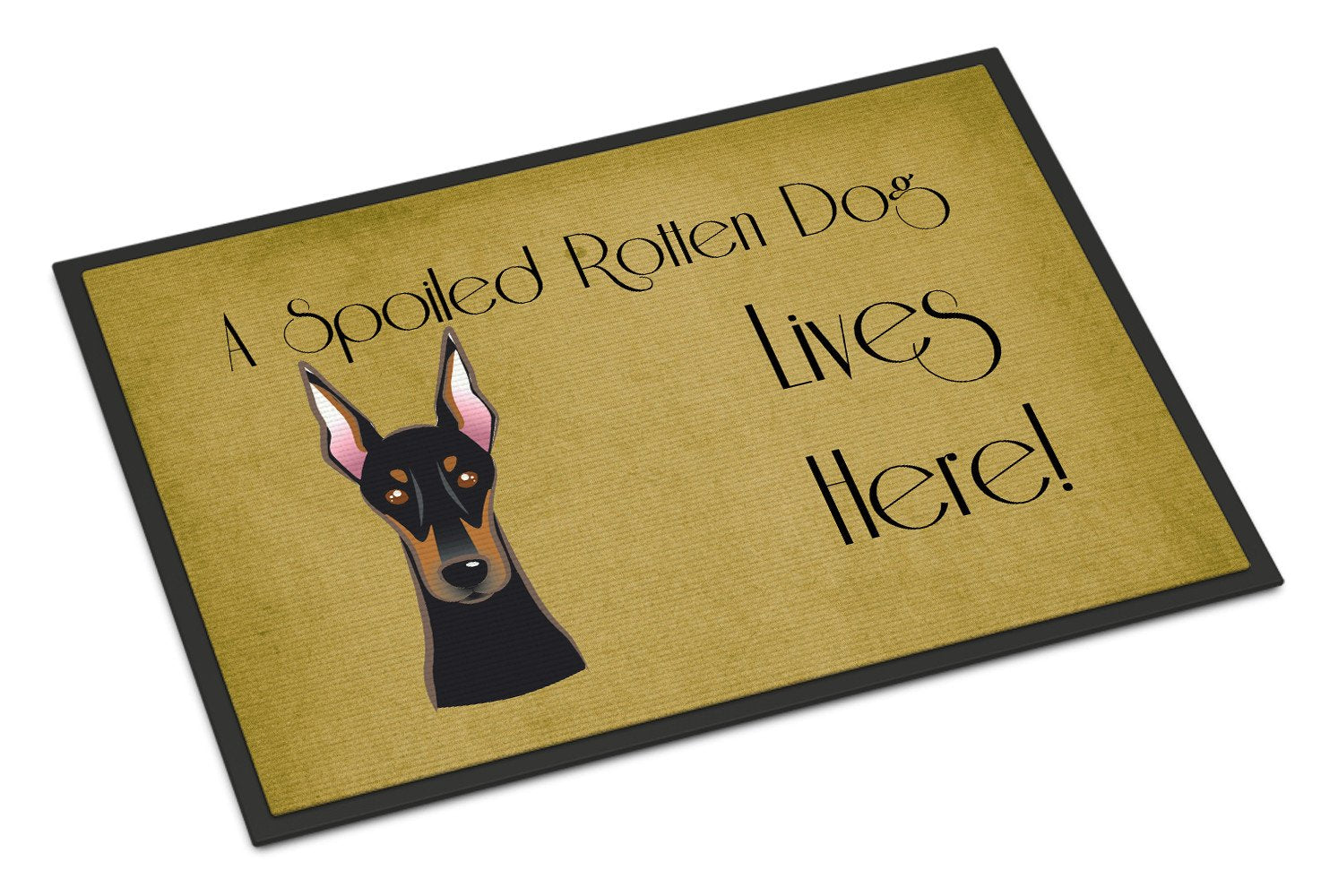 Doberman Spoiled Dog Lives Here Indoor or Outdoor Mat 18x27 BB1493MAT - the-store.com