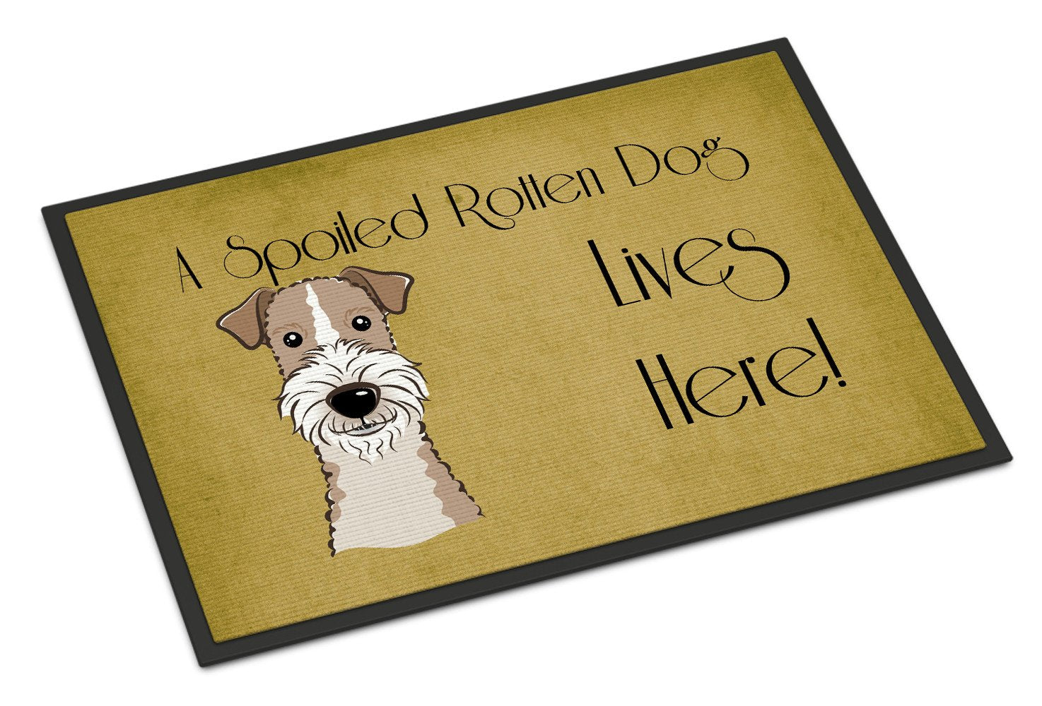 Wire Haired Fox Terrier Spoiled Dog Lives Here Indoor or Outdoor Mat 18x27 BB1495MAT - the-store.com