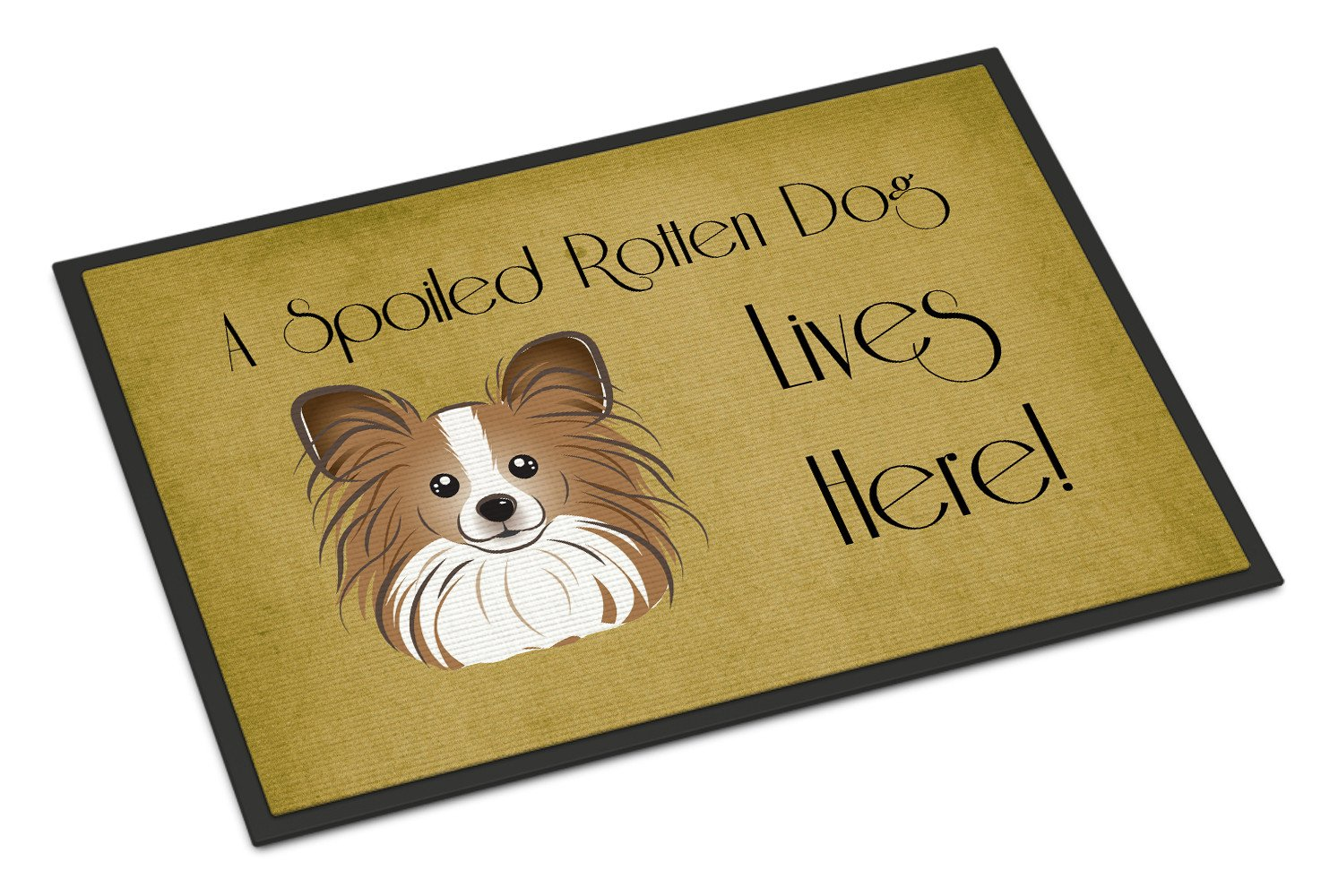 Papillon Spoiled Dog Lives Here Indoor or Outdoor Mat 18x27 BB1496MAT - the-store.com