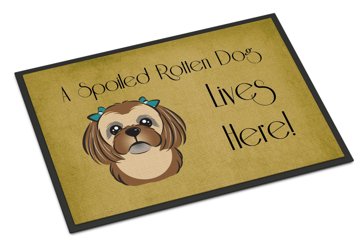 Chocolate Brown Shih Tzu Spoiled Dog Lives Here Indoor or Outdoor Mat 18x27 BB1497MAT - the-store.com