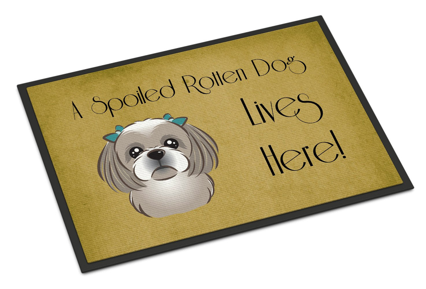 Gray Silver Shih Tzu Spoiled Dog Lives Here Indoor or Outdoor Mat 18x27 BB1498MAT - the-store.com