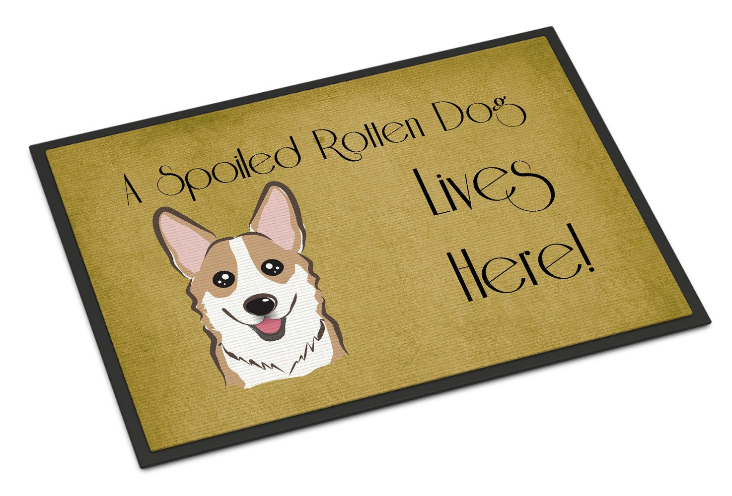 Sable Corgi Spoiled Dog Lives Here Indoor or Outdoor Mat 18x27 BB1501MAT - the-store.com