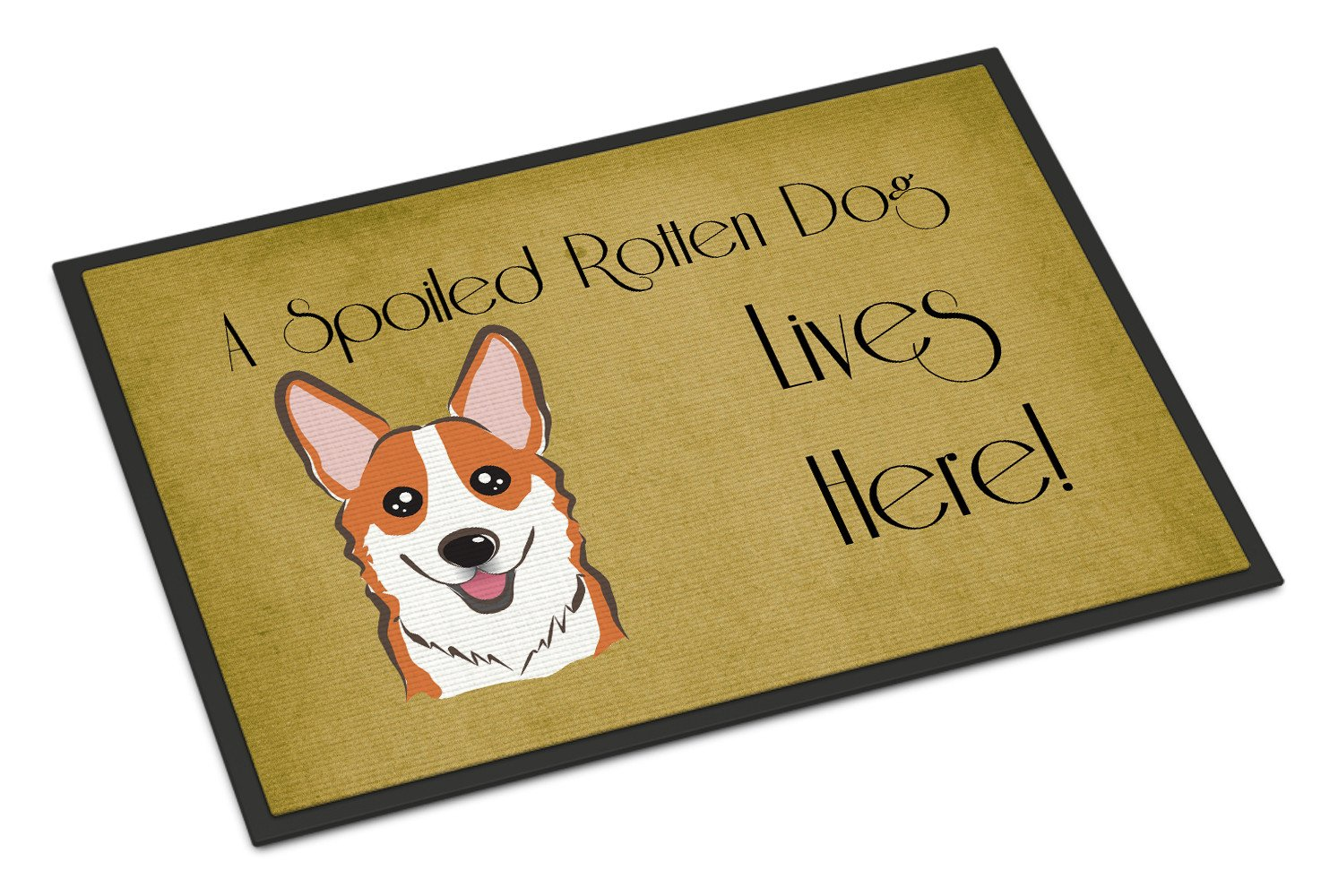 Red Corgi Spoiled Dog Lives Here Indoor or Outdoor Mat 18x27 BB1502MAT - the-store.com