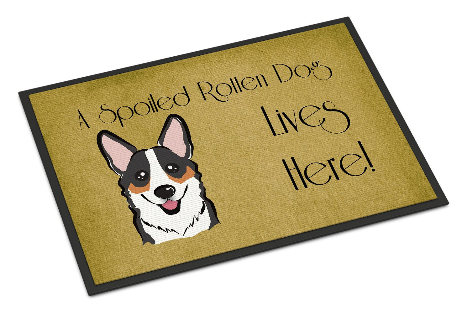 Tricolor Corgi Spoiled Dog Lives Here Indoor or Outdoor Mat 18x27 BB1503MAT - the-store.com