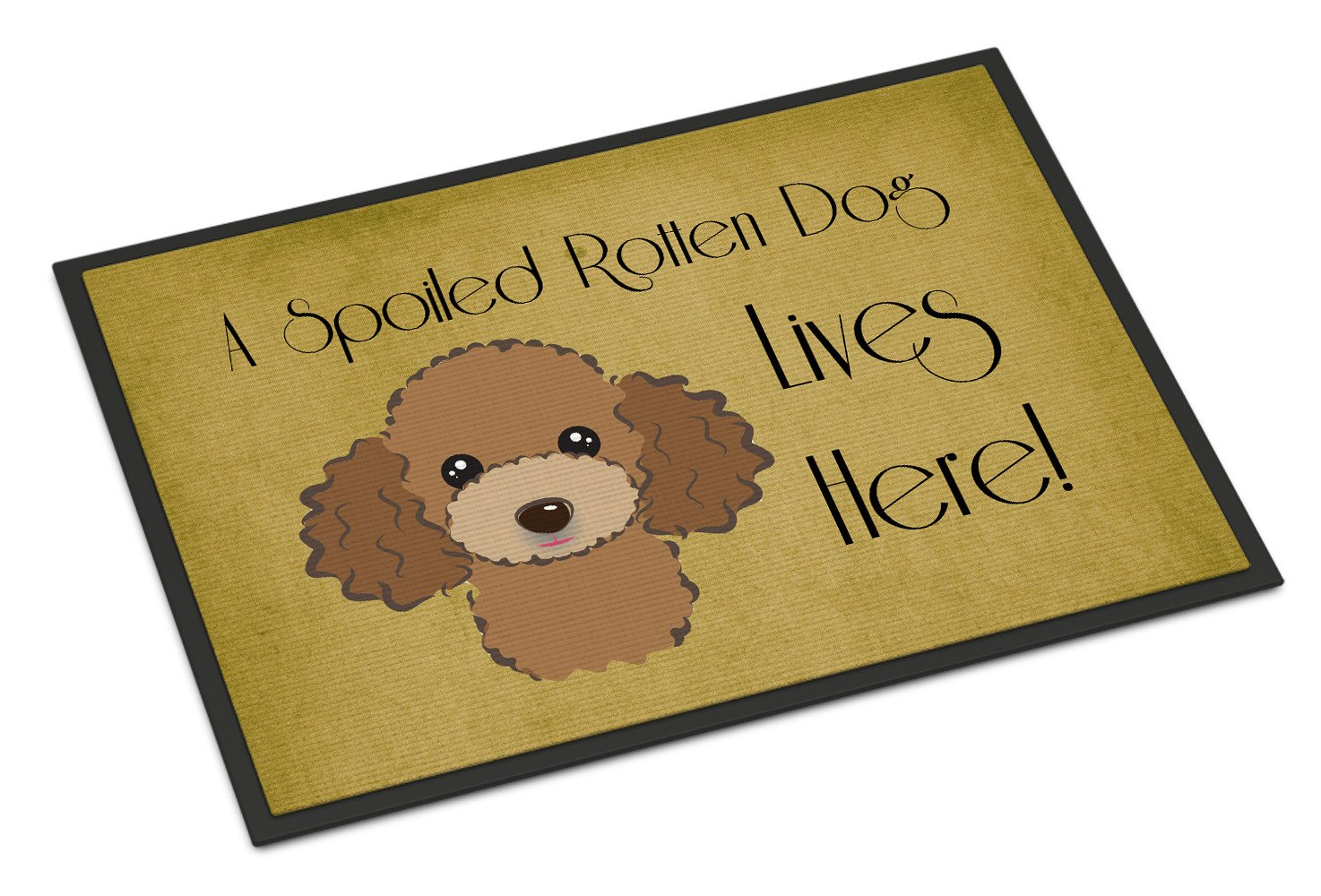Chocolate Brown Poodle Spoiled Dog Lives Here Indoor or Outdoor Mat 18x27 BB1504MAT - the-store.com