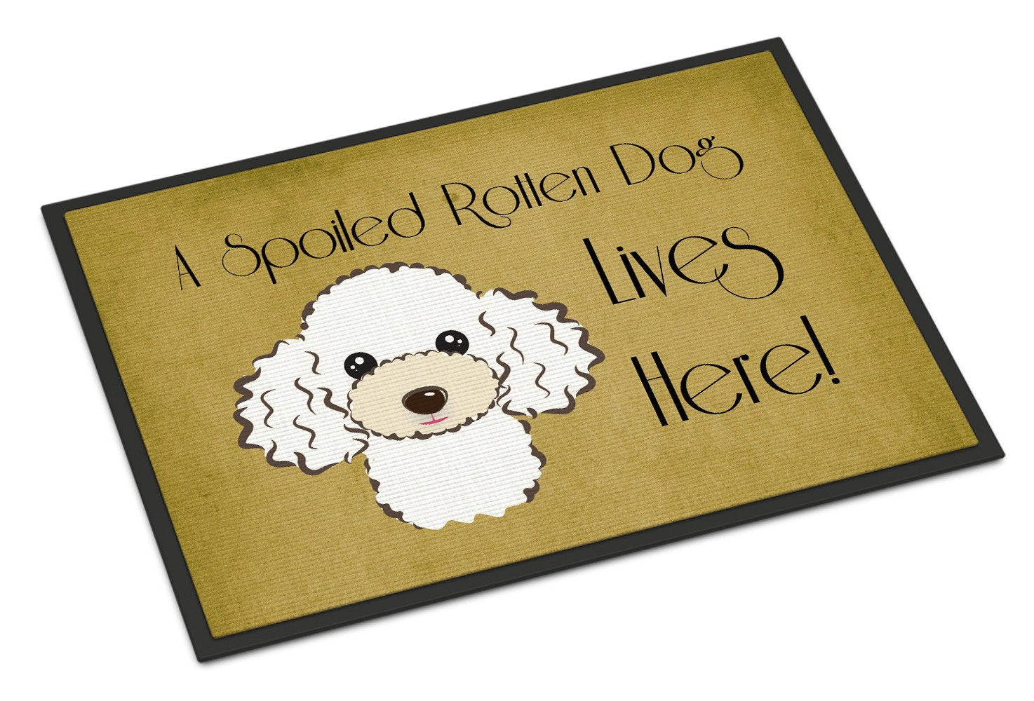 White Poodle Spoiled Dog Lives Here Indoor or Outdoor Mat 18x27 BB1505MAT - the-store.com
