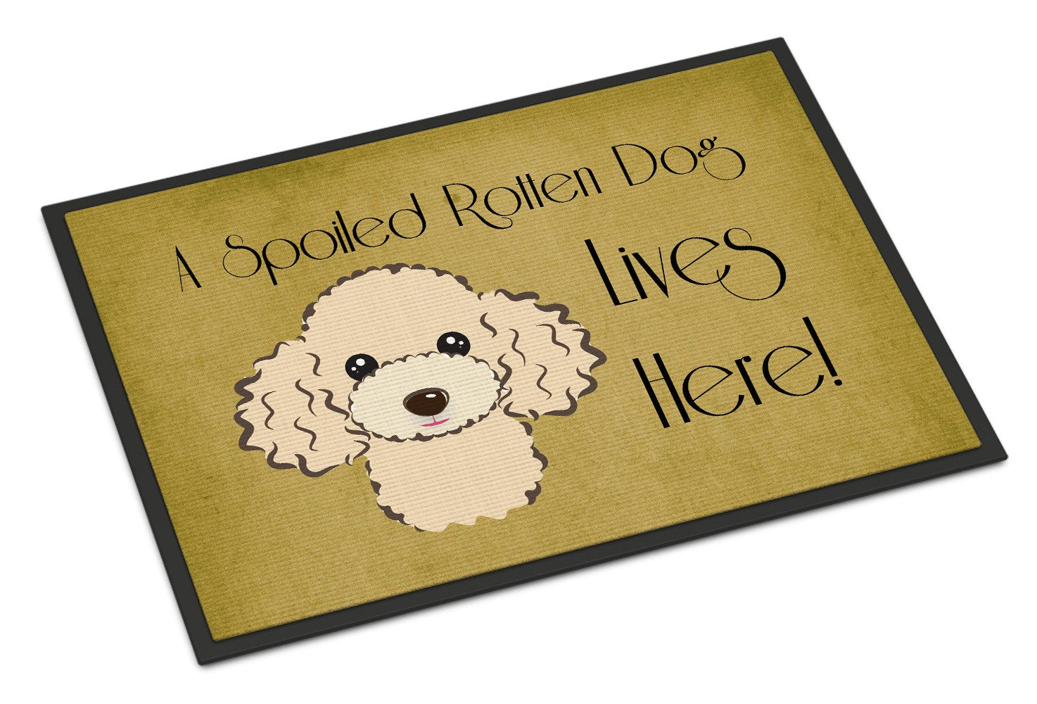 Buff Poodle Spoiled Dog Lives Here Indoor or Outdoor Mat 18x27 BB1506MAT - the-store.com