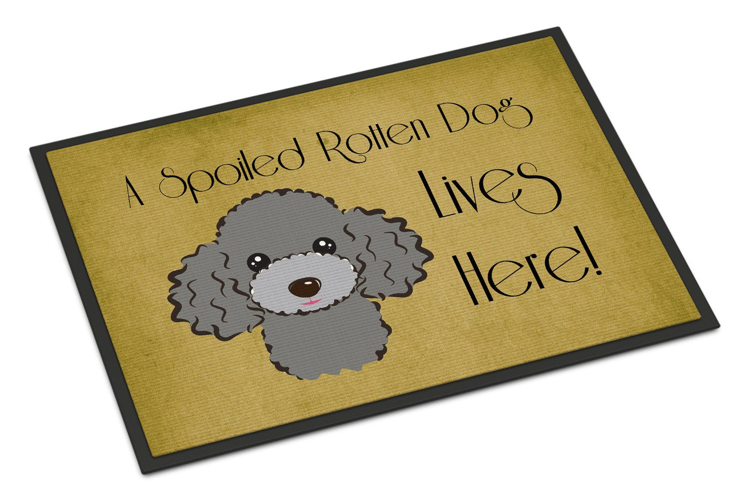 Silver Gray Poodle Spoiled Dog Lives Here Indoor or Outdoor Mat 18x27 BB1507MAT - the-store.com