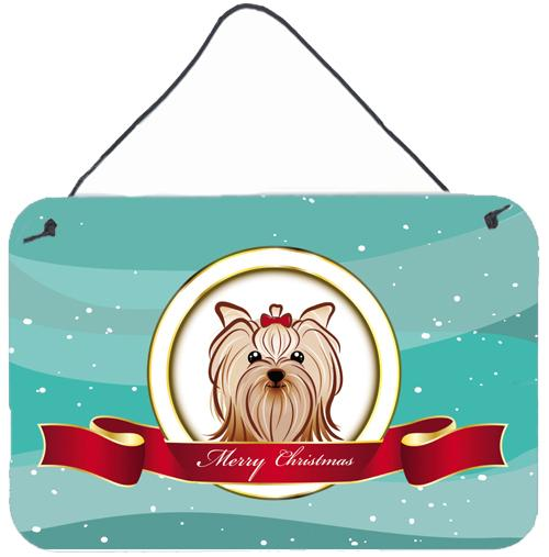 Buy this Yorkie Yorkishire Terrier Merry Christmas Wall or Door Hanging Prints BB1514DS812