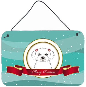 Buy this Maltese Merry Christmas Wall or Door Hanging Prints BB1518DS812