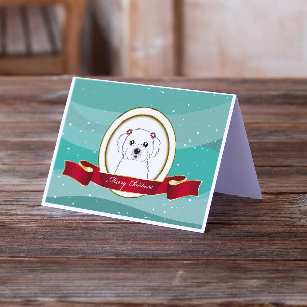 Buy this Maltese Merry Christmas Greeting Cards and Envelopes Pack of 8