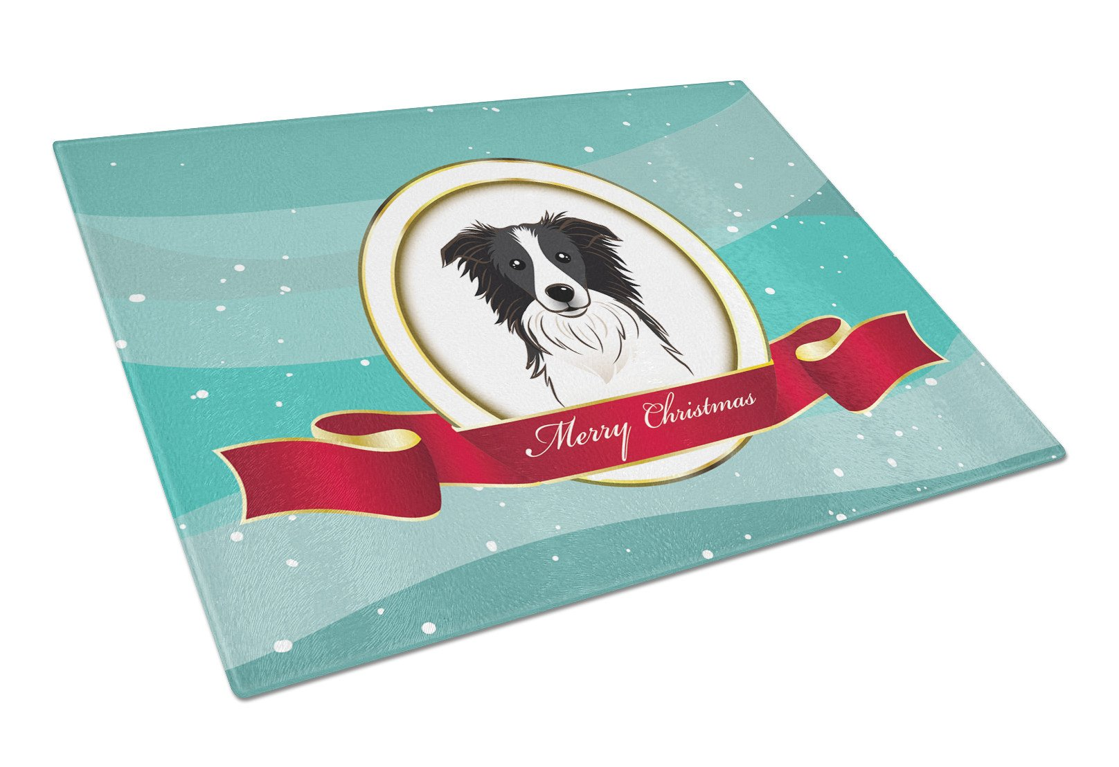 Border Collie Merry Christmas Glass Cutting Board Large BB1551LCB by Caroline's Treasures