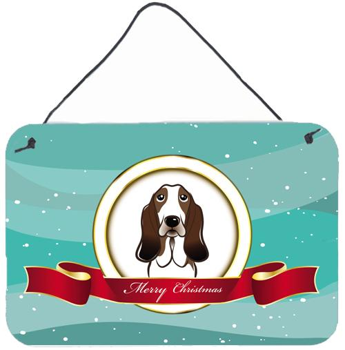 Basset Hound Merry Christmas Wall or Door Hanging Prints BB1553DS812 by Caroline's Treasures