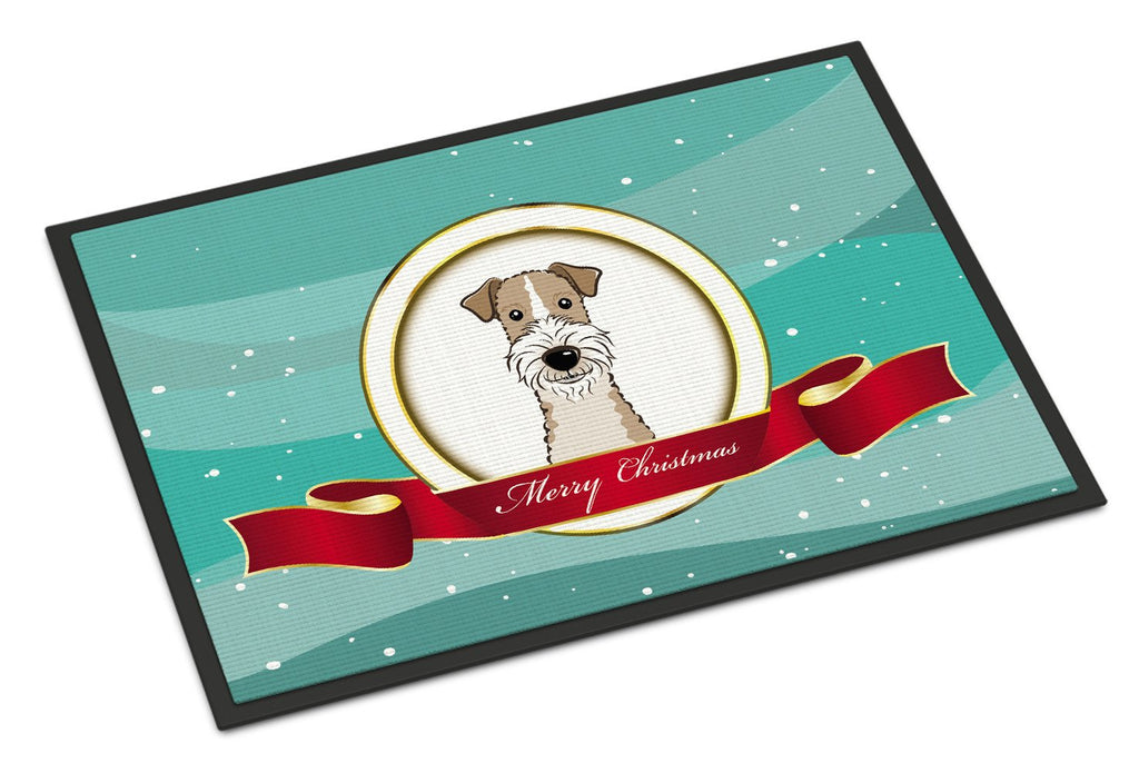 Buy this Wire Haired Fox Terrier Merry Christmas Indoor or Outdoor Mat 18x27 BB1557MAT