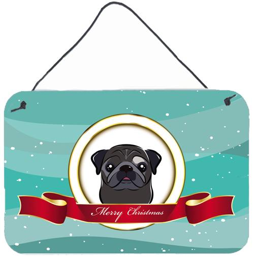 Black Pug Merry Christmas Wall or Door Hanging Prints BB1573DS812 by Caroline's Treasures
