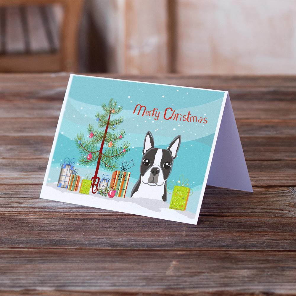 Buy this Christmas Tree and Boston Terrier Greeting Cards and Envelopes Pack of 8