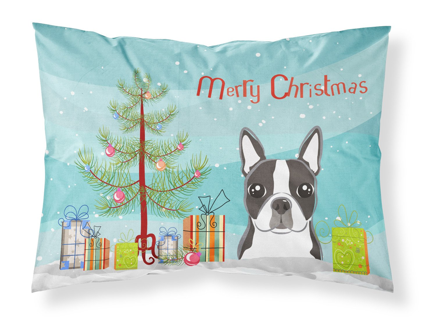 Buy this Christmas Tree and Boston Terrier Fabric Standard Pillowcase BB1575PILLOWCASE